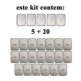 20 Tomadas + 5 Interruptores Modular Casa Completa Blux Home