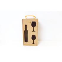 Caixa Porta Vinho Em Mdf Com Porta Taça - Caixa De Vinho