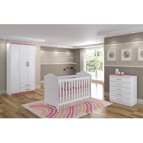 Jogo Quarto Infantil 3 Peças Branco Rosa - Henn
