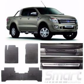 Kit Soleira Premium+tapete Borracha Ford Ranger Cabine Dupla