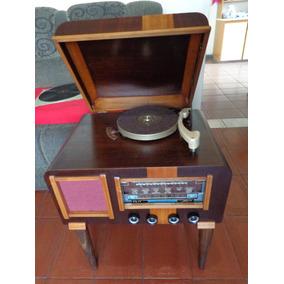 Rádio Vitrola Antiga Anos 50 Valvulada Funcionando - Vídeo