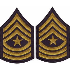 Insignia Militares Oro/negro V-lcro Par De Parches Bordados