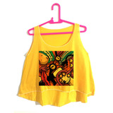 Cropped Roupas Femininas Amarela Desenho Colorido