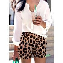 Shorts Chic Fashion - Animal Print - Oncinha