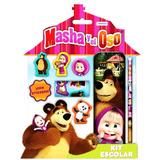 Masha Y El Oso Set Escolar Con Stickers Mundo 02915