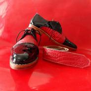 Zapatos De Hombres De Vestir Cuero Negro Y Rojo Cocodrilo
