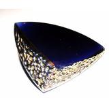 Joyas/prendedor Antiguo,cristal Azul/relieve Dorado