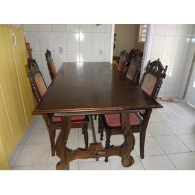 Conjunto Antigo De Sala De Jantar - Mesa + Arca Oratório