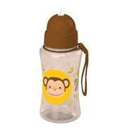 Garrafinha Infantil Squeeze Plástico C/ Canudo 400 Ml Macaco