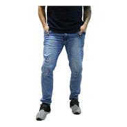 Calça Jeans Slim Reta Masculina Azul Claro Rasgado *99