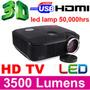Nuevo Proyector Video Beam 3500 Lumens 2usb 2hdmi, Vga, Tv