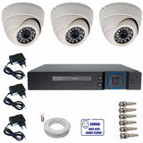 Sistema Vigilância 3 Câmeras Dome Ir Ao Vivo E Internet P2p