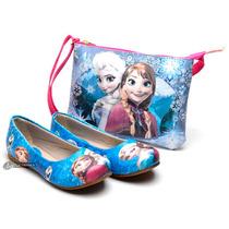 Kit Sapatilha Menina Infantil Disney Frozen, Peppa +bolsa