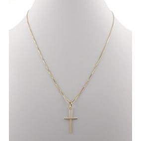Corrente Cordão 60cm + Pingente Crucifixo De Ouro 18k