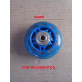 Roda 60mm,siliconada C/ Rol/eixo/paraf.p/patins(kit 04 Pçs)