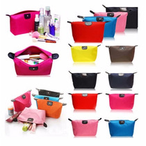 Bolsa Cosmetiquera Nylon Guarda Maquillaje, Brochas, Colores