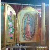 Tríptico De Virgen De Guadalupe Madera Con Hoja De Oro