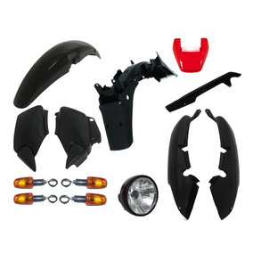 Carenagem Fan 125 Preto Injetado 2005 A 2008 Kit Completo