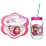 Frozen Elsa Y Anna Dividido Plato Y Taza Del Estilo De Maso