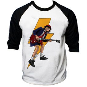 Camisa Raglan 3/4 Acdc Hard Rock Album Back Hell Tnt #4
