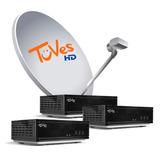 Kit Satelital Tuves 3 Decos Hd + 12 Meses Plan Tv