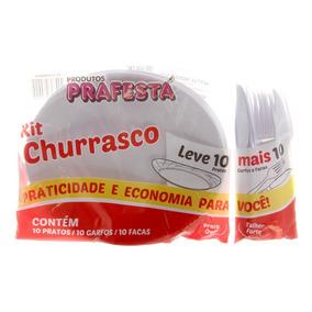 Kit Churrasco Acrílico Branco Garfo Faca Prato 80und De Cada