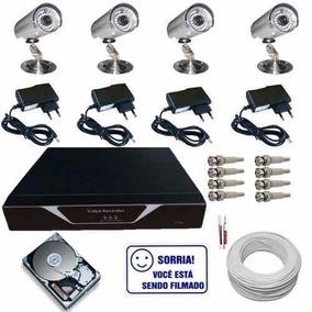 Kit 4 Câmeras Circuito Fechado Tv Com Acesso Imagens Ao Vivo