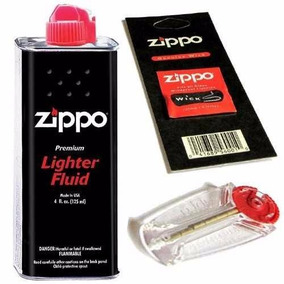 Combo Zippo Original Fluido Bencina 125 + Mecha + 6 Piedras