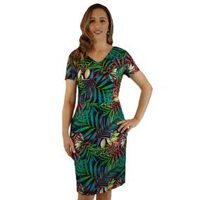Vestido Feminino Tubinho Estampado Moda Evangélica Promoção
