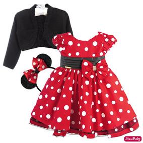 Vestido Minnie Vermelho Infantil Chique Com Tiara E Bolero