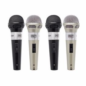 Kit 4 Microfones Com Fio Profissionais + Cabos Mxt C/ Chave