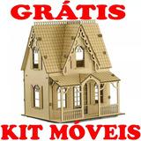 Casa De Boneca Mdf Polly C1 Grátis Kit Móveis Pronta Entrega