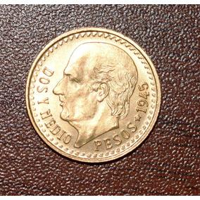 Moneda De Oro 2 1/2 Pesos 1945 Hidalgo