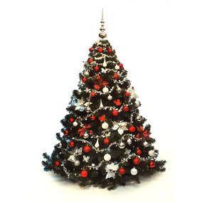 Árbol De Navidad Bariloche 2,00 Con Adornos Rojo-plata