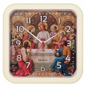 6696 Relógio Parede 23 Cm Santa Ceia Tic-tac Marfim Herweg