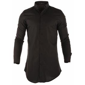 Camisa Farenheite Long Negra Algodón Y Poliéster