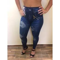 Calça Legging Estampa Jeans Feminina Leg Ziper Promoção