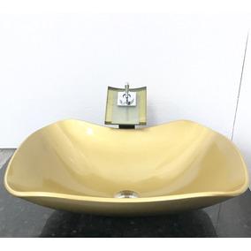 Kit Com Cuba Vidro Abaulada Dourada,válvula,torneira E Sifão