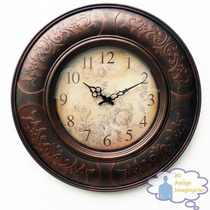 Reloj Pared Decorativo Vintage Eiffel Paris Francia Flores