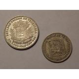 Dos Monedas De Plata: 1/2 Y 1/4 Bolívares. Año 1945
