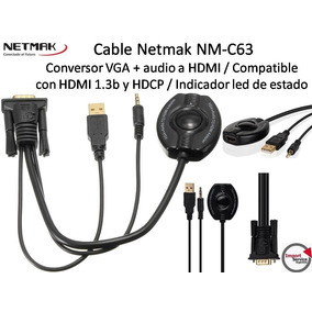 Cable Netmak Nm-c63 /conversor Vga+audio A Hdmi/1.3b Y Hdcp