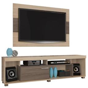 Rack Com Painel Para Tv De Até 55 Madetec - Areia E Amêndoa