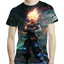 Camisa Dragon Ball Camiseta Goku Vs Vegita - Estampa Total