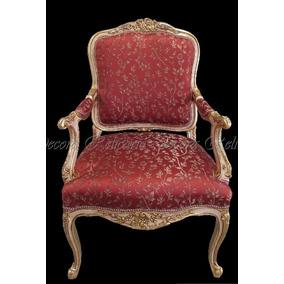 Cadeira De Braço Poltrona Luiz Xv Fol. A Ouro Tecido Nobre