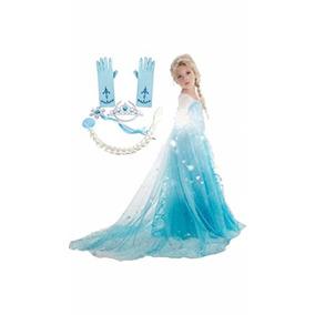 Vestido Inspirado Congelado (4-5 Años, 5 Piezas Elsa)