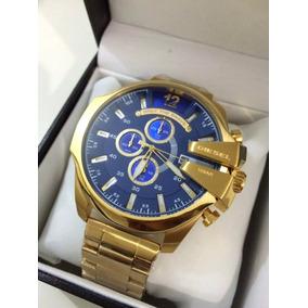 c481a71f48fea Relógio Ho14078 Diesel Mega Chief 10bar Dourado Azul Oferta