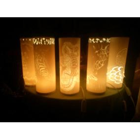 Lámpara Con Grabado Artesanal En Cloruro De Polivinilo