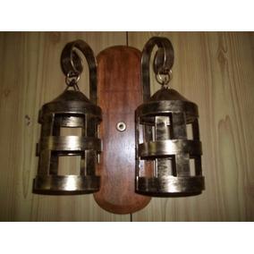 Arandela Rústica Em Madeira Com 2 Bocais Ferro