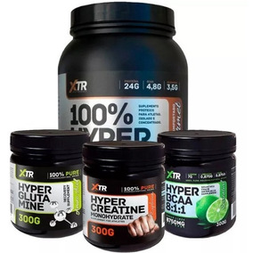 Kit Xtr Whey 900g + Bcaa 300g +creatina 300g +glutamina 300g