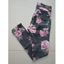 Jean Pantalon Mujer Materia Talle 28 Con Flores